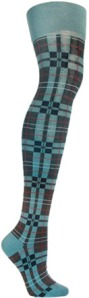 Hay Plaid Blue Knee Socks