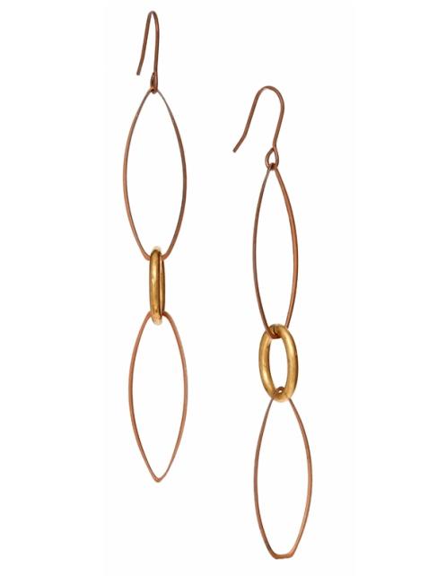 Twisted Silver Lithe Long Brass earrings